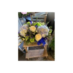 Large Wooden Box With Hydrangea, Roses And Mixed